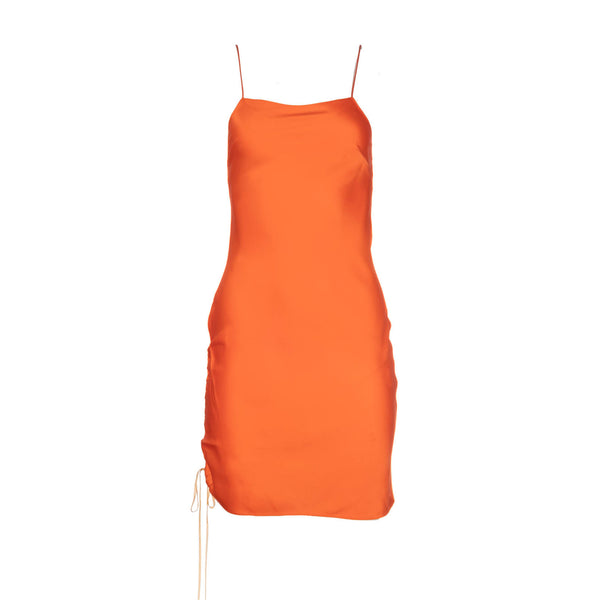 Tangerine Ruched Mini Silk Dress