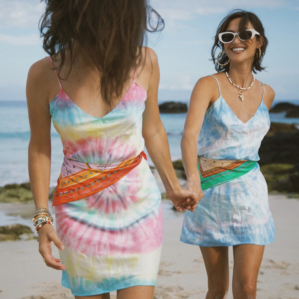 Multi Tie Dye Mini Slip Dress
