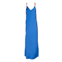 Blueberry Tie Strap Silk Slip Dress