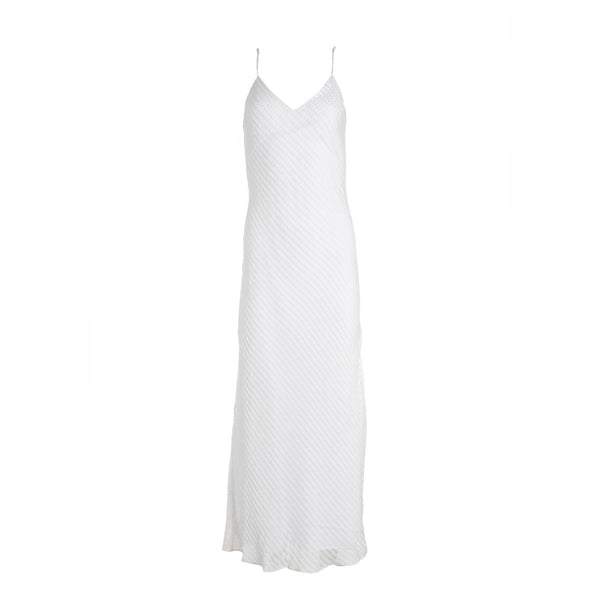 White Burnout Velvet Dress