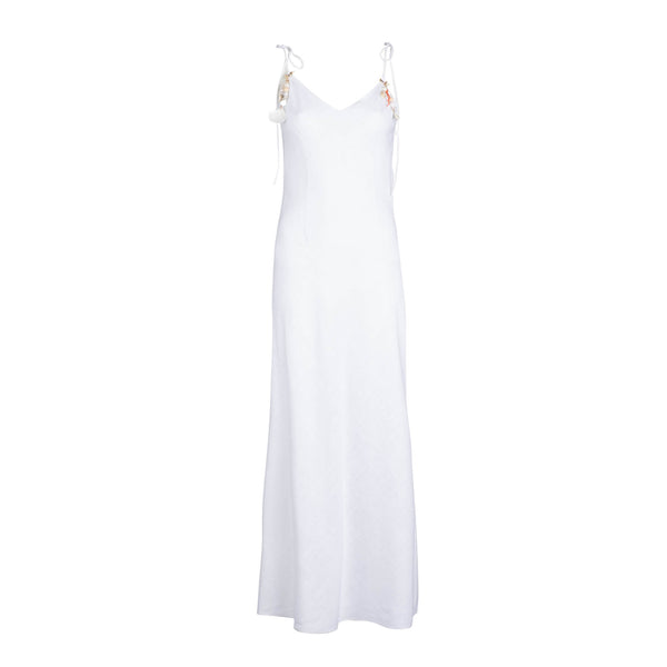 White Linen Tie Strap Dress