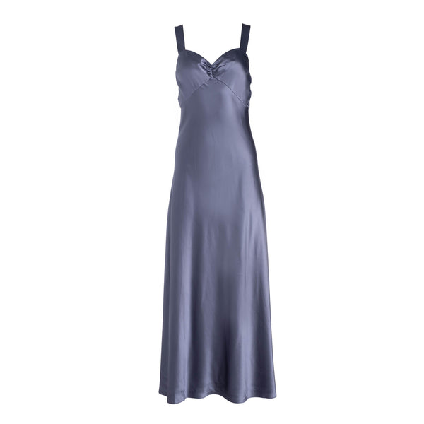 Mystic Blue Wide Strap Slip Dress