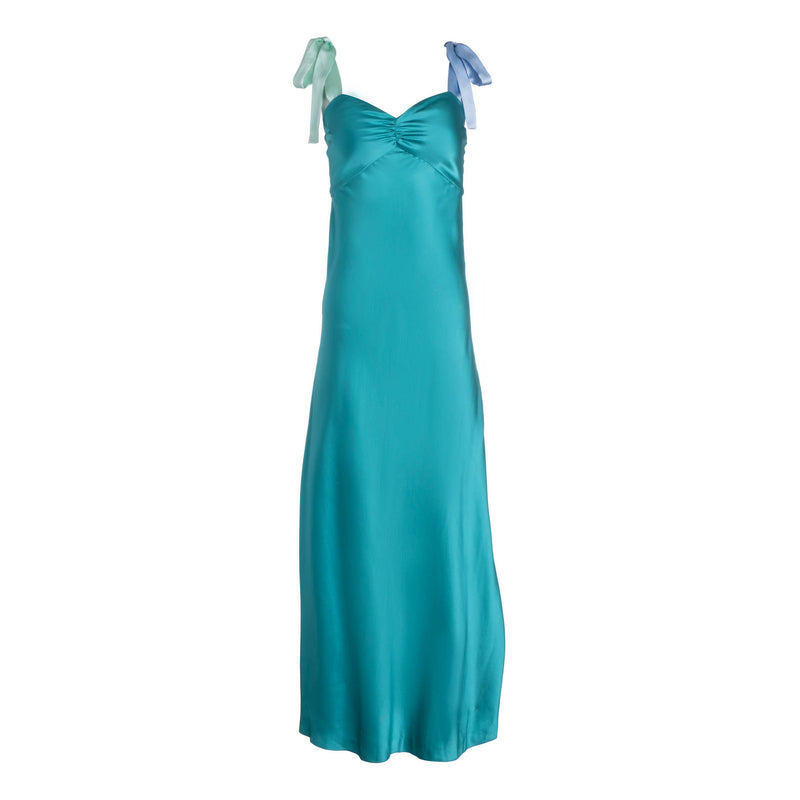 Electric Teal Wide Tie Strap Slip Dress