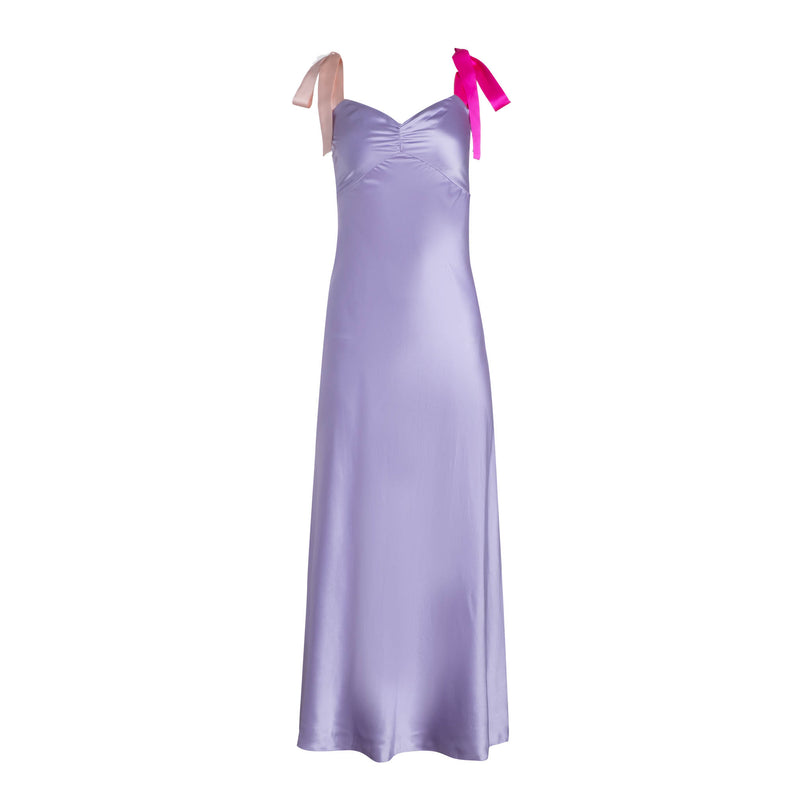 Lilac Wide Tie Strap Slip Dress