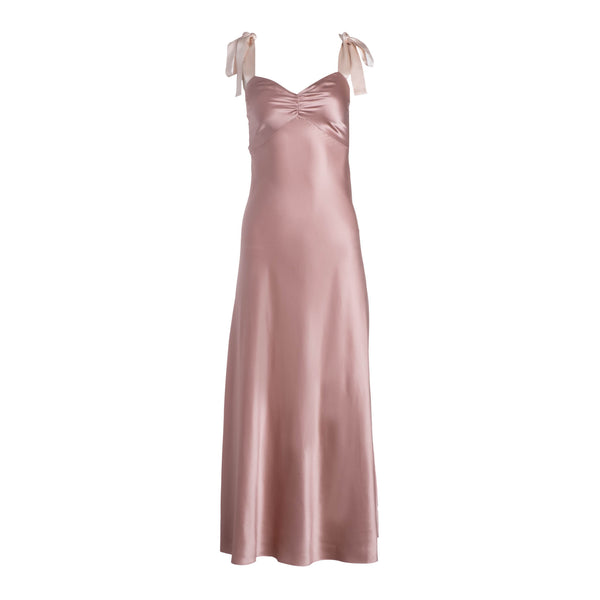 Mauve Wide Tie Strap Slip Dress