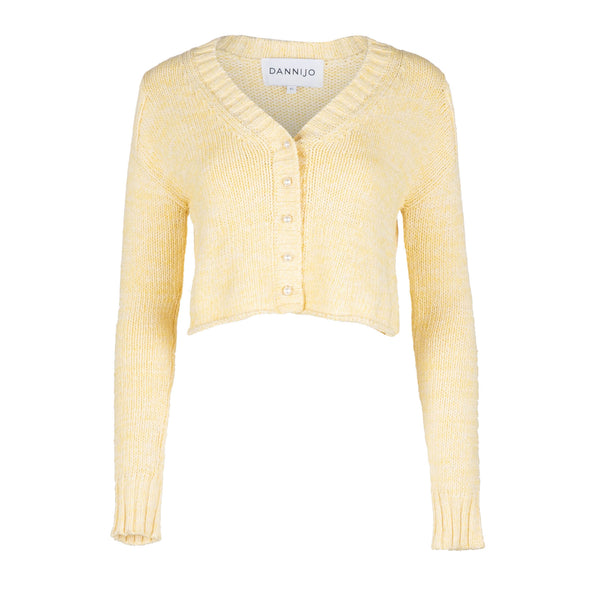 Yellow Cropped Cotton Cardigan