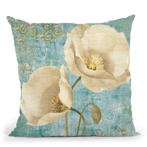 Rich Poppies On Paisley Throw Pillow By Albena Hristova