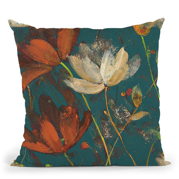 Moonlight Garden I Spice On Teal Throw Pillow By Albena Hristova