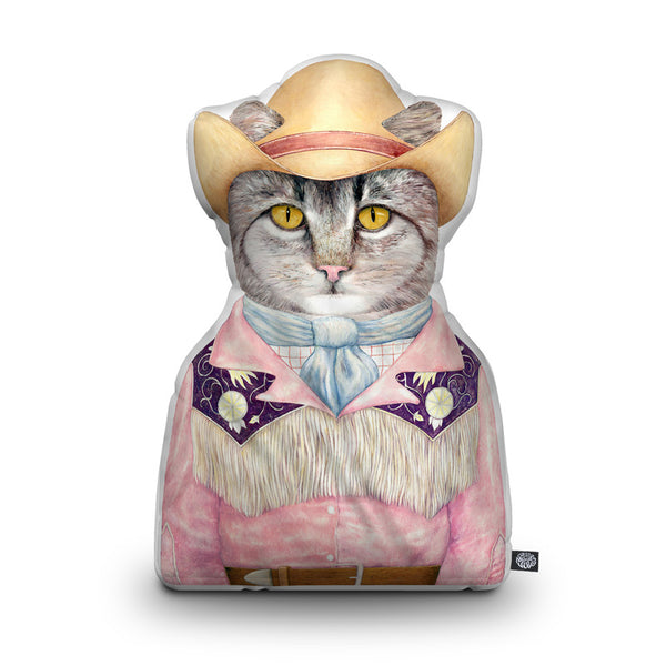 Cowboy Cat Shaped Throw Pillow by Animal Crew - by all about vibe