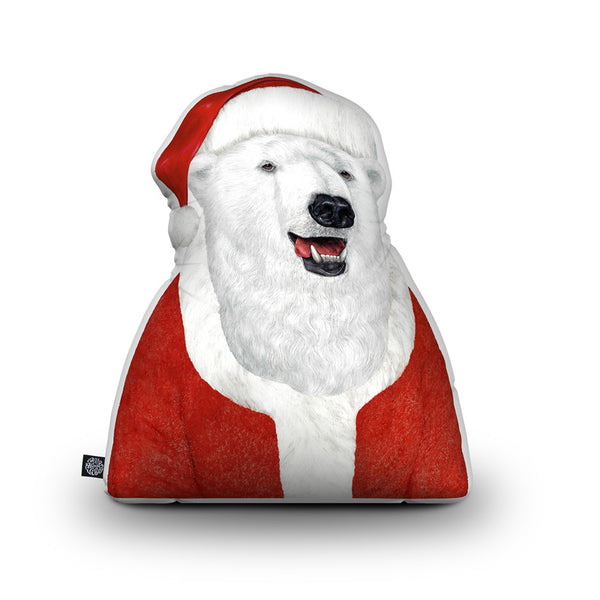 Polarbear Santa Throw Pillow By Animal Crew - by all about vibe