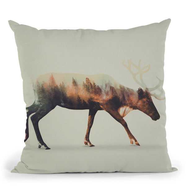 The Reindeer Norwegian Woods Throw Pillow By Andreas Lie