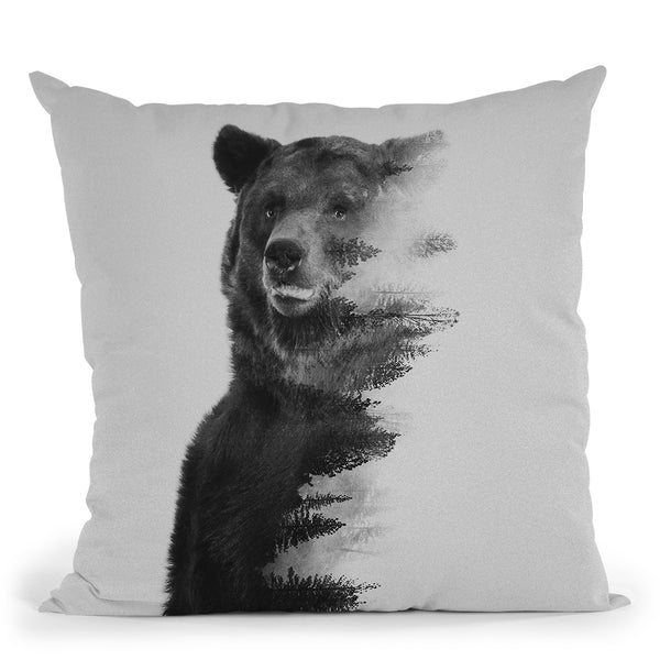 Observing Bear (Black & White V Throw Pillow By Andreas Lie