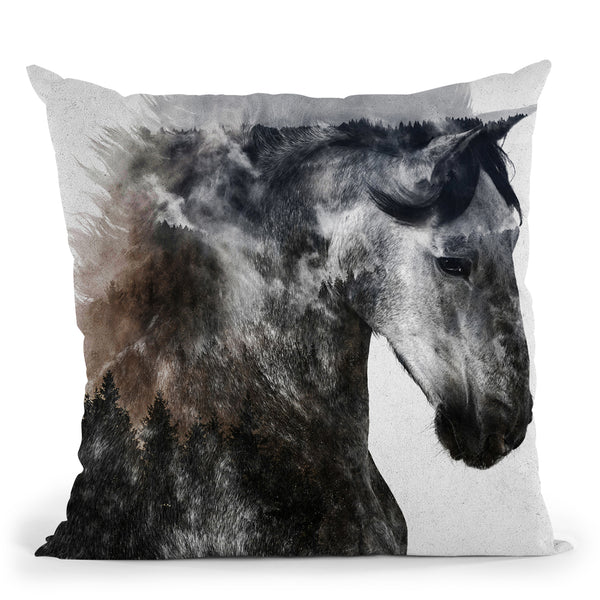 Proud Stallion Alt Version Throw Pillow By Andreas Lie
