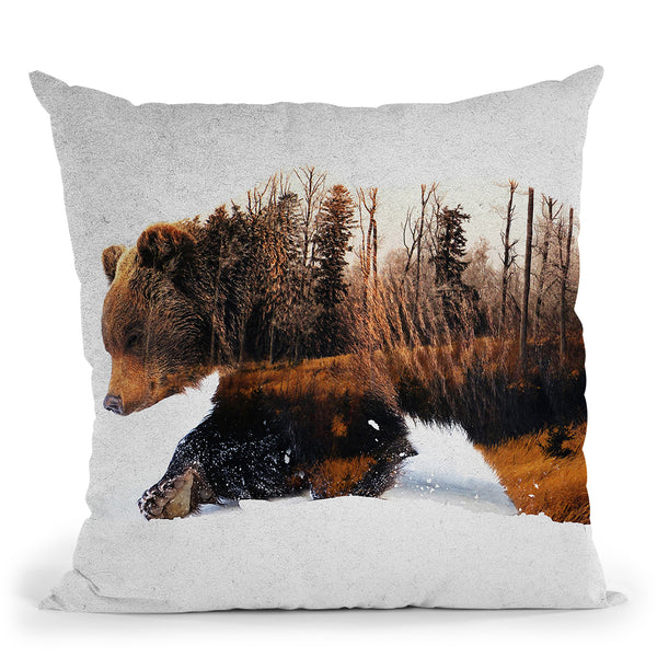 Travelling Bear Throw Pillow By Andreas Lie