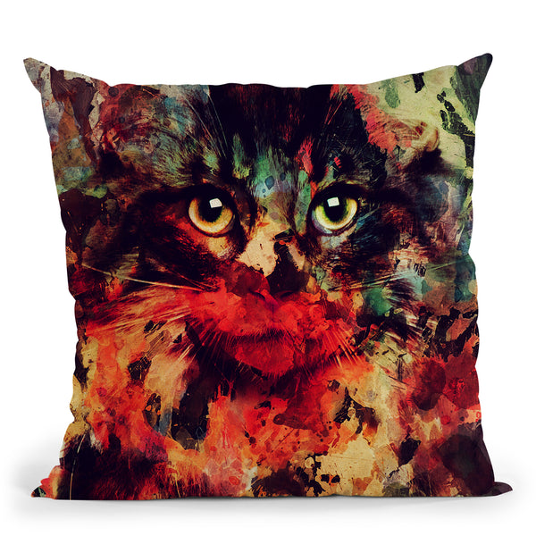 Watercolor Cat Throw Pillow By Andreas Lie
