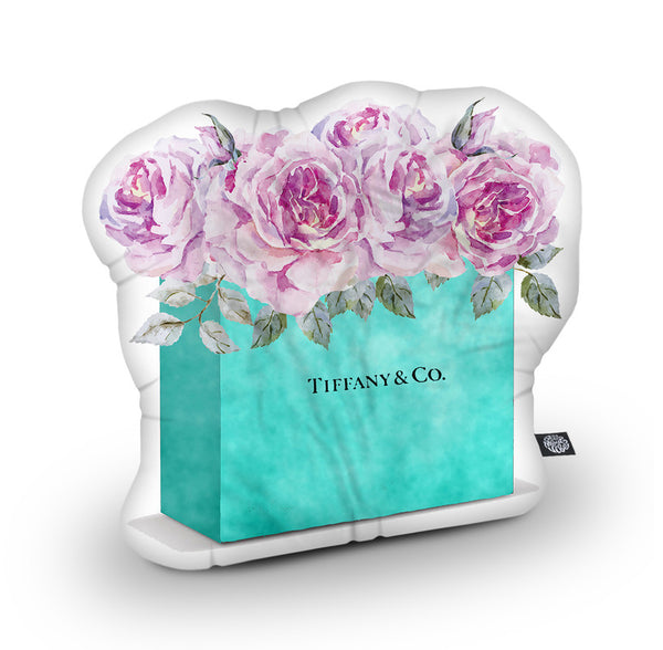 Shopping Bag Teal Pink Roses Shaped Throw Pillow by Amanda Greenwood - by all about vibe