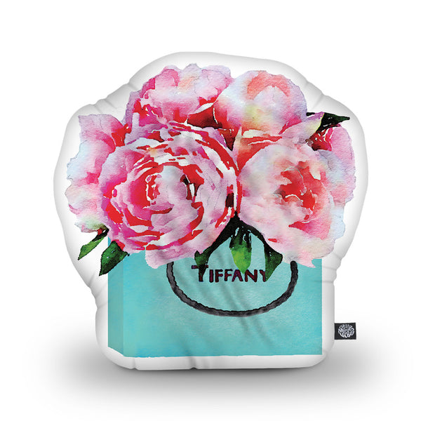 Shopping Bad V2 Teal Pink Peonies Shaped Throw Pillow by Amanda Greenwood - by all about vibe