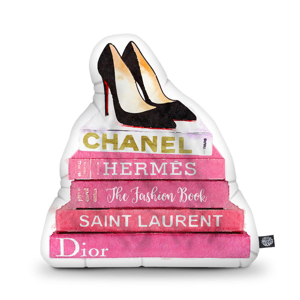 Black Stilettos Pink Fashion Books Shaped Throw Pillow by Amanda Greenwood - by all about vibe