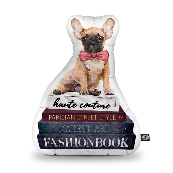 Frenchie Books Shaped Throw Pillow by Amanda Greenwood - by all about vibe