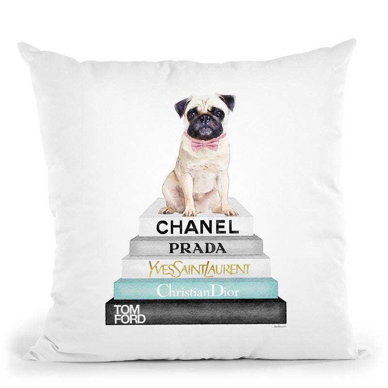 Bookstack Pug Pink Bow Throw Pillow By Amanda Greenwood