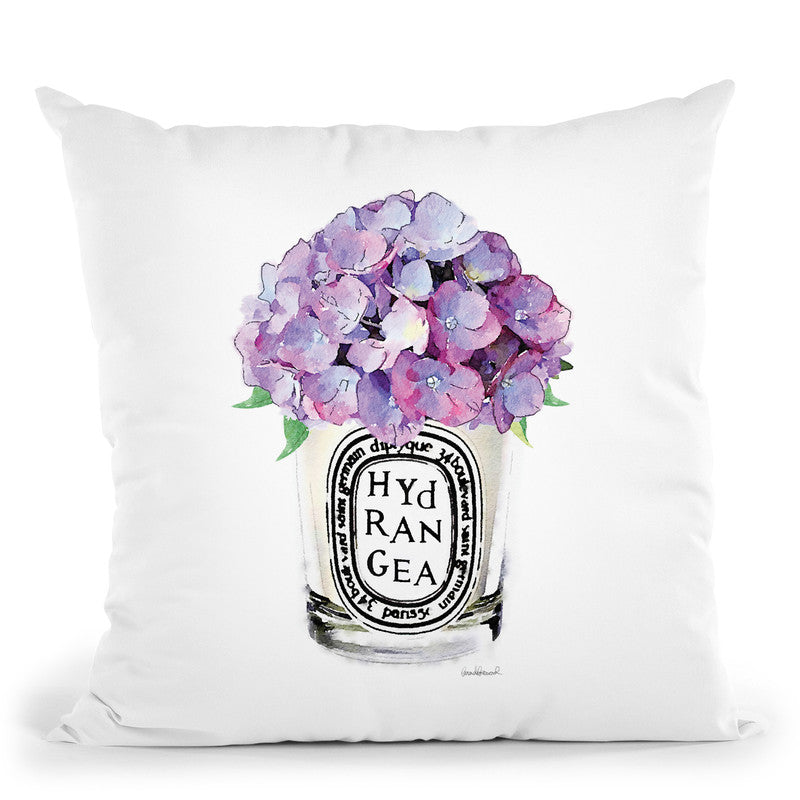 Candle Hydrangea Throw Pillow By Amanda Greenwood