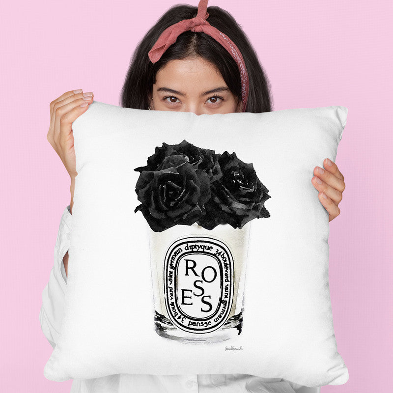 Flower Candle Black Throw Pillow By Amanda Greenwood