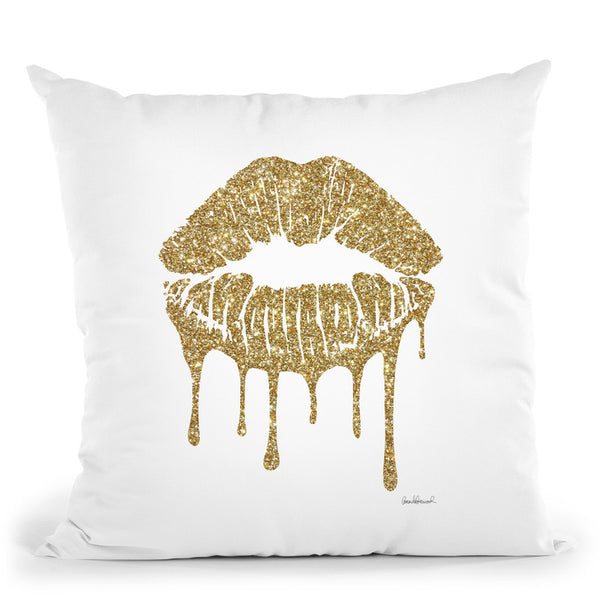 Gold Lips Drip Throw Pillow By Amanda Greenwood