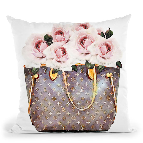 Brown Bag Filled With Blush Roses Throw Pillow By Amanda Greenwood