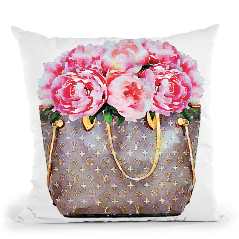 Brown Bag Filled With Pink Peonies Throw Pillow By Amanda Greenwood