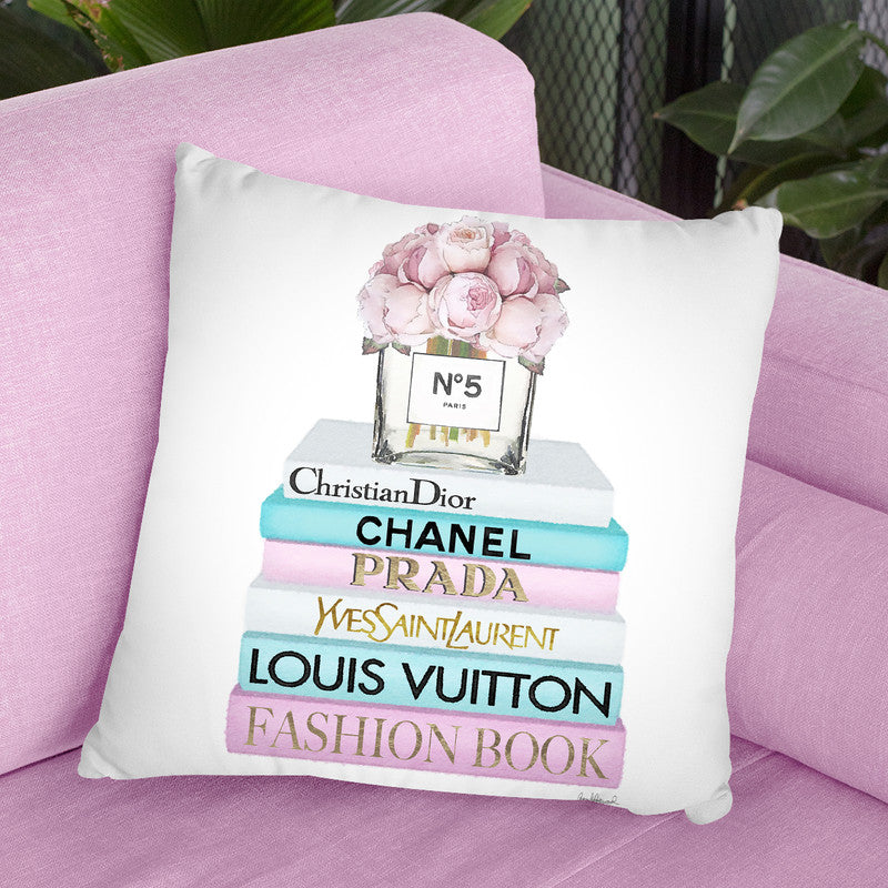 Teal & Pink Books Peony Vase Throw Pillow By Amanda Greenwood