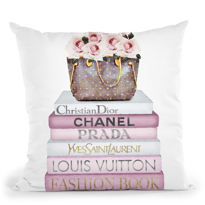 Pink Tone Books, Bag With Roses Throw Pillow By Amanda Greenwood