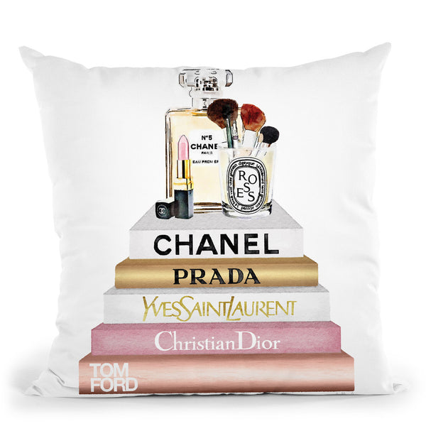 Blush, Rose & Gold Books, Make Up Set Throw Pillow By Amanda Greenwood