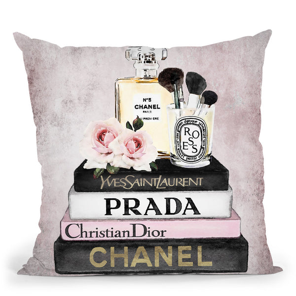 Books Of Fashion, Pink, Makeup Set, Pink Grunge Throw Pillow By Amanda Greenwood
