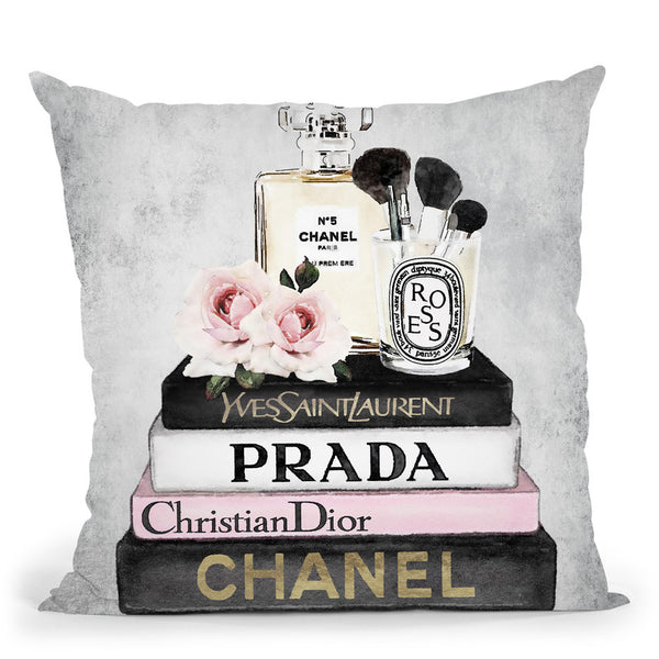Books Of Fashion, Pink, Makeup Set, Grey Grunge Throw Pillow By Amanda Greenwood