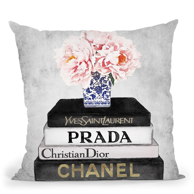 Books Of Fashion, Grey, Flowers, Grey Grunge Throw Pillow By Amanda Greenwood
