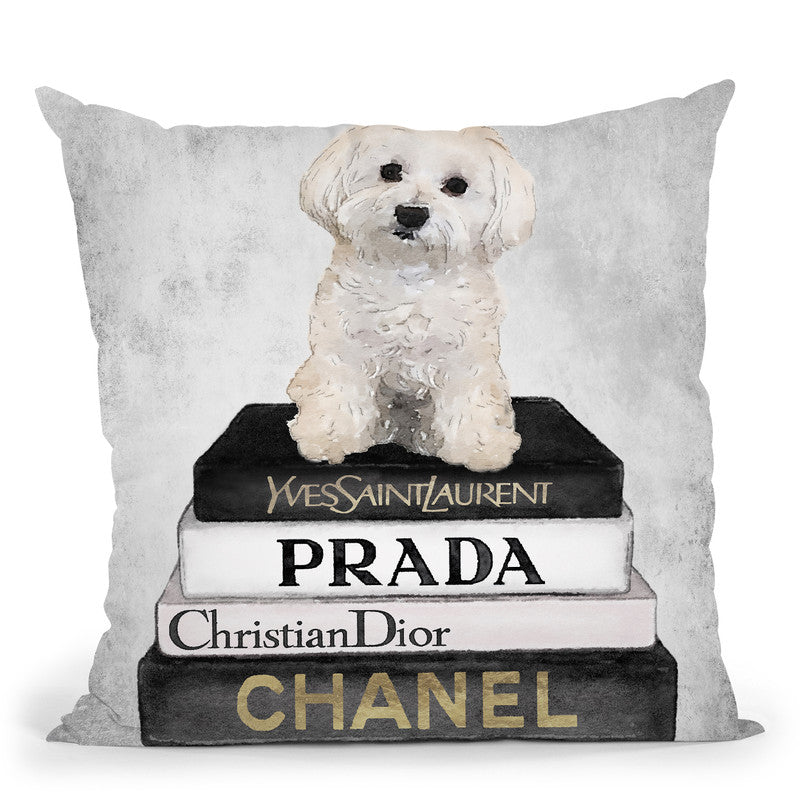 Books Of Fashion, Grey, Maltese, Grey Grunge Throw Pillow By Amanda Greenwood