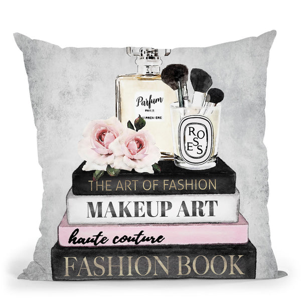 Books Of Fashion Nb, Pink, Makeup Set, Grey Grunge Throw Pillow By Amanda Greenwood