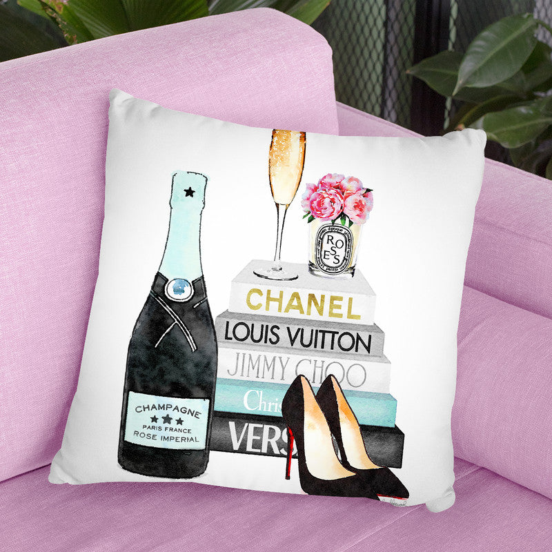New Blue Books With Blue Champagne,Oes, Rose Throw Pillow By Amanda Greenwood
