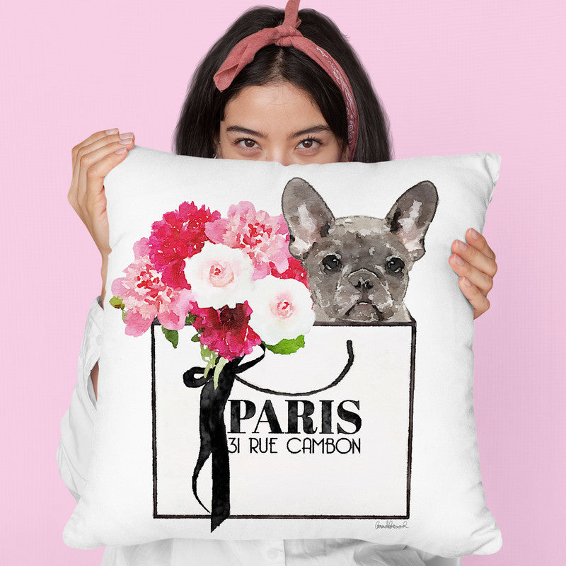 Shopping Bag Frenchie Throw Pillow By Amanda Greenwood