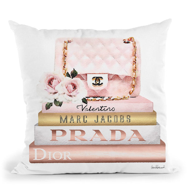 Books Medium, Blush & Rose Gold, Quilted Bag With Roses Throw Pillow By Amanda Greenwood