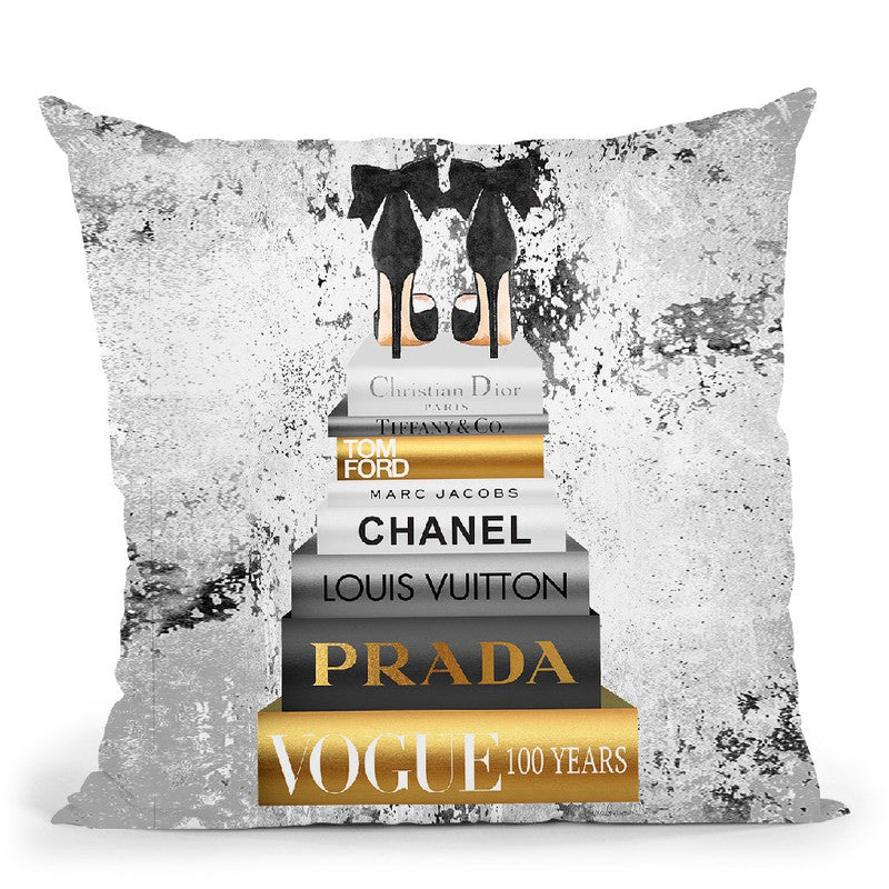 Tall Book Stack Grey & Gold Black Bowoes With Background Throw Pillow By Amanda Greenwood