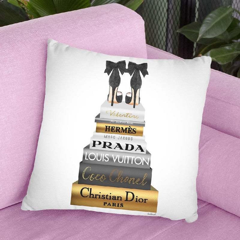 Tall Metallic Stack Gold With Black Bowoes Throw Pillow By Amanda Greenwood