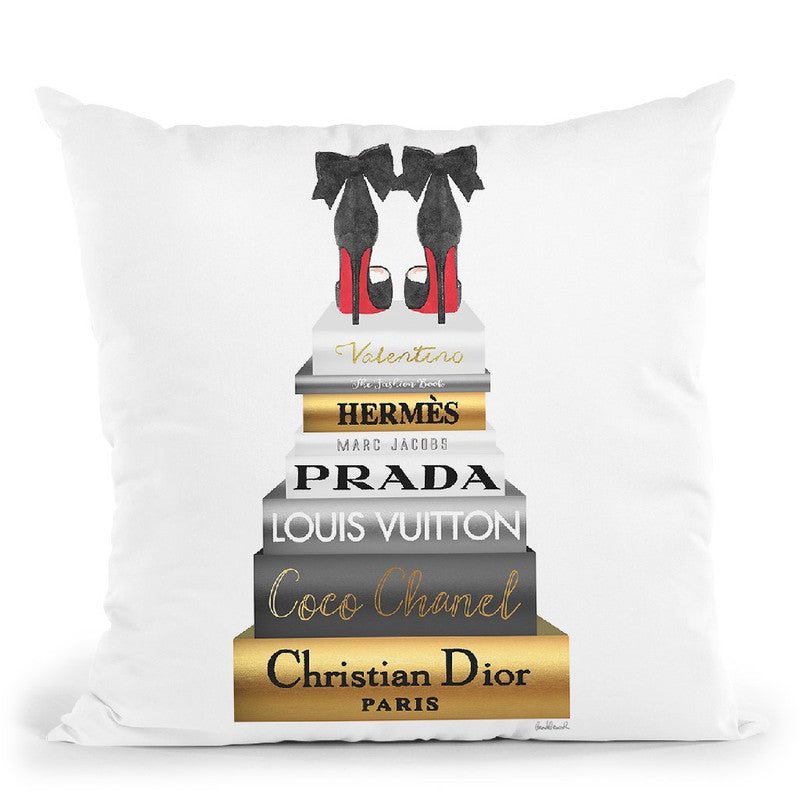 Tall Metallic Stack Gold With Black Bowoes Red Soles Throw Pillow By Amanda Greenwood