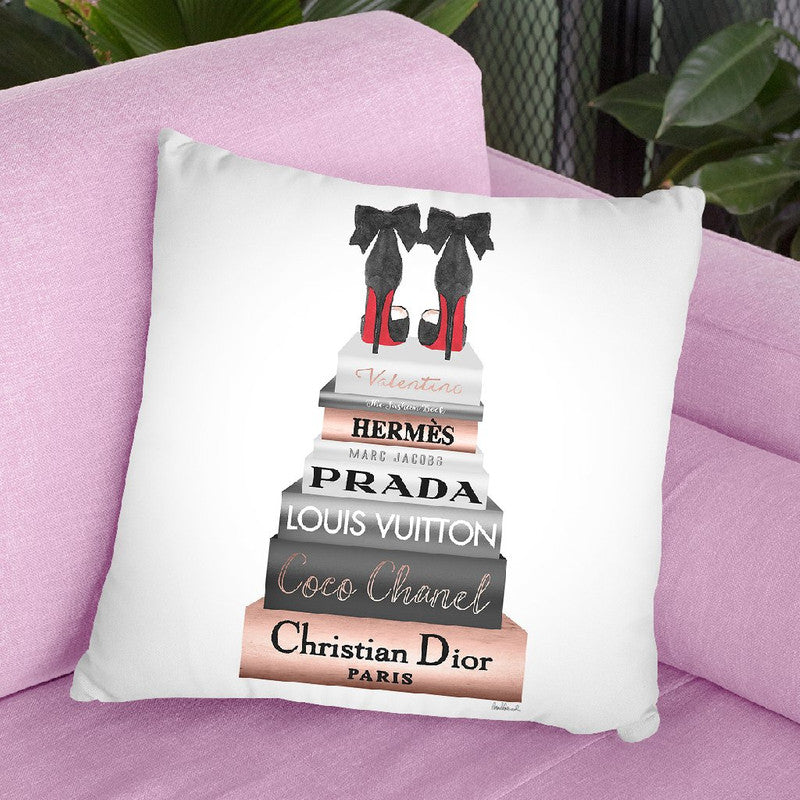 Tall Book Stack Rose Gold With Black Bowoes Red Soles Throw Pillow By Amanda Greenwood