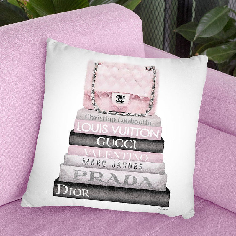 Medium Book Stack Grey Soft Pink, Quilted Bag Throw Pillow By Amanda Greenwood