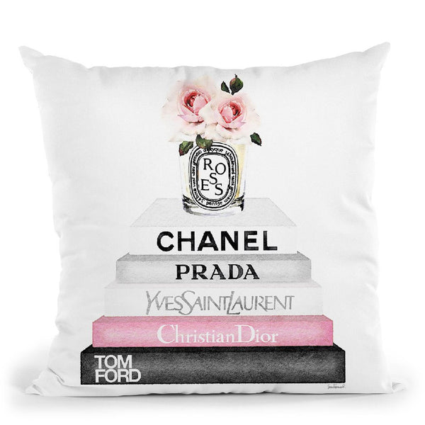 Grey & Pink Books With Candle Roses Throw Pillow By Amanda Greenwood