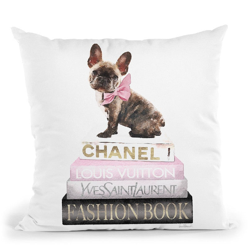 New Books Grey Blush With Brindle Frenchie Throw Pillow By Amanda Greenwood