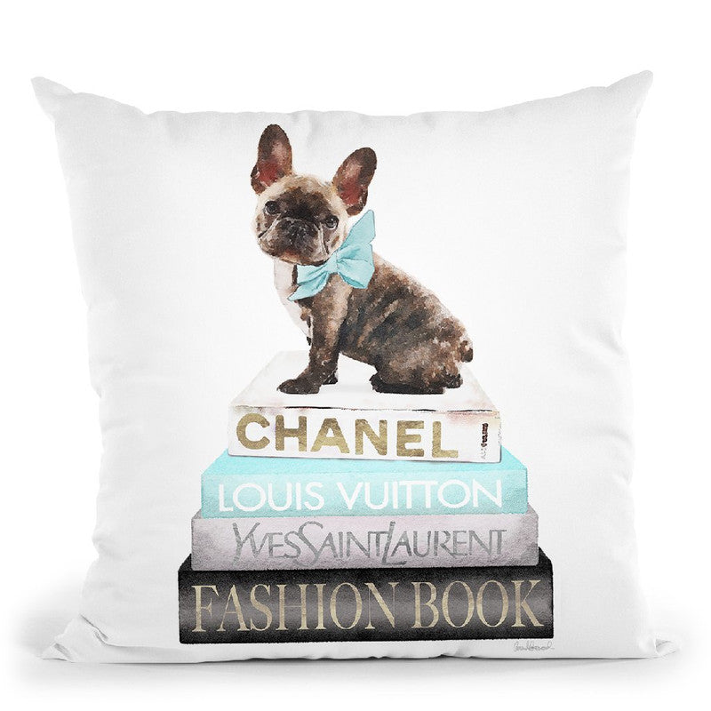 New Books Grey Teal With Brindle Frenchie Throw Pillow By Amanda Greenwood