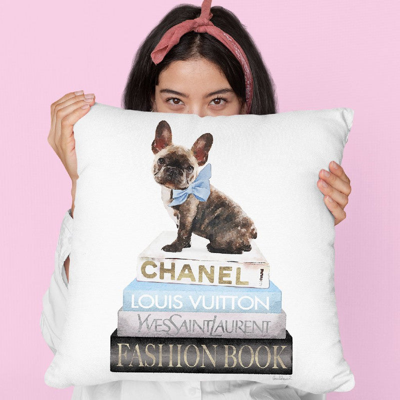 New Books Grey Blue With Brindle Frenchie Throw Pillow By Amanda Greenwood