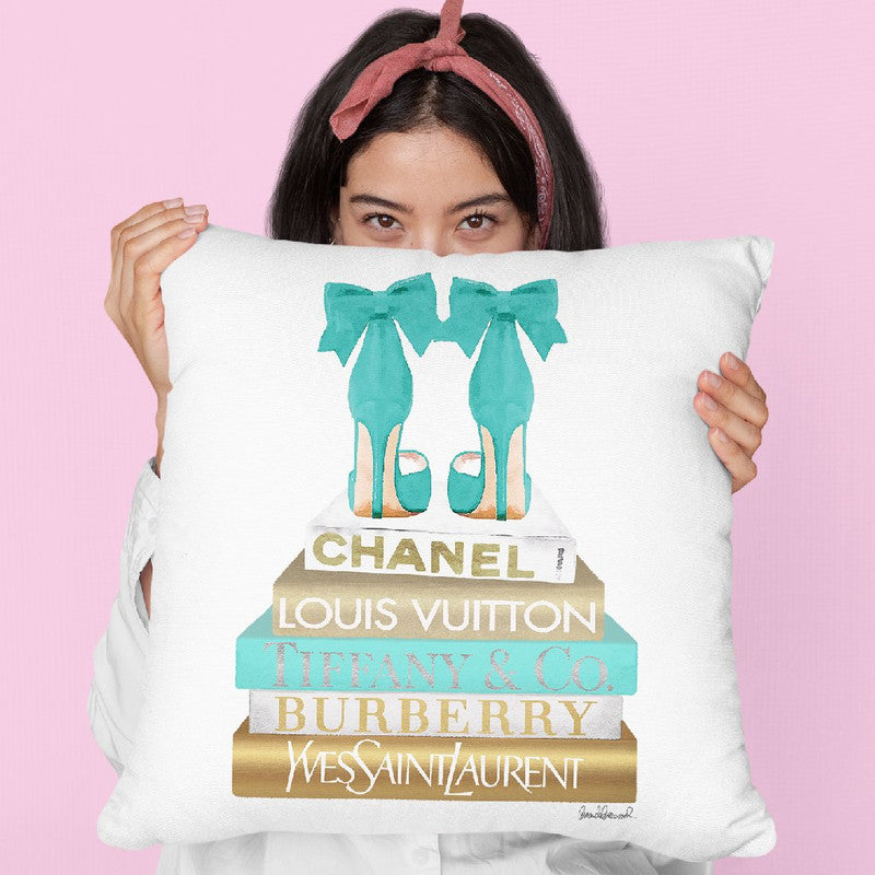 Gold Bookstack With Teal & BowoesÊ Throw Pillow By Amanda Greenwood